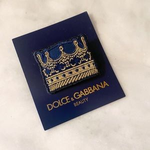Auth Dolce&Gabbana Navy & Gold Crown Brooch / Pin